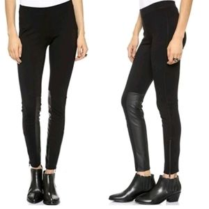 Madewell Panel Ponte Moto Pant Faux Leather Zipper